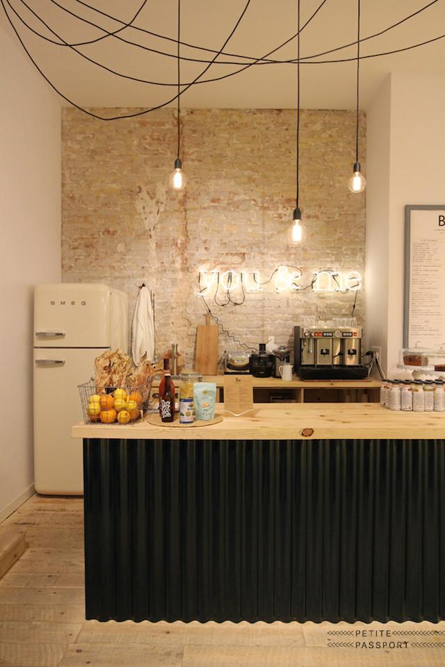 Edison lightbulbs in an exposed brick kitchen