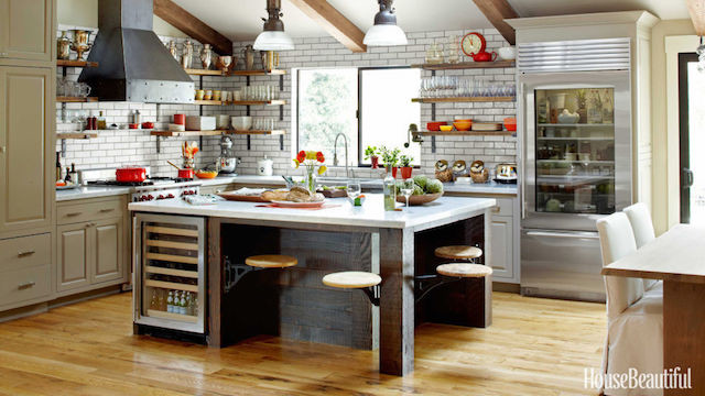 Industrial kitchen with old wood island