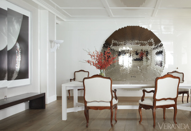 Dining room with white painted walls