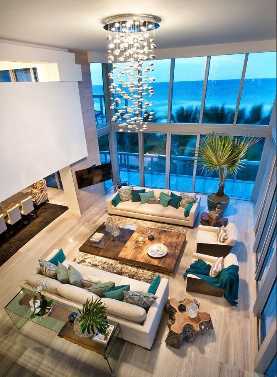 double high windows living room
