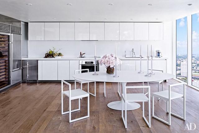 white kitchen wood floors