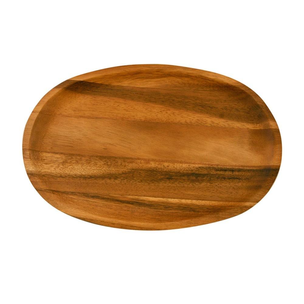 oval bowl made of acacia wood