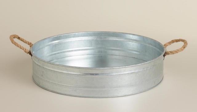 round bowl made of galvanized metal