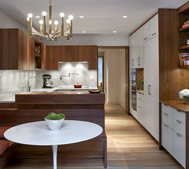 Walnut and marble kitchen