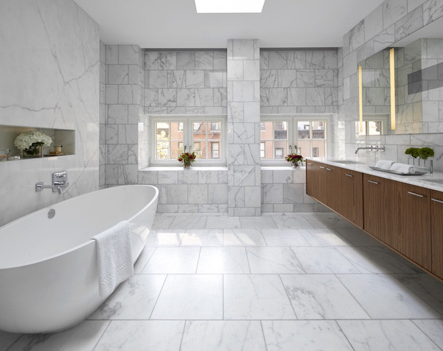 Marble master bath with sculptural tub