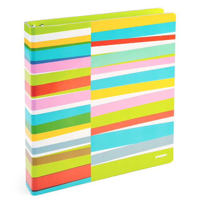 lime green striped binder
