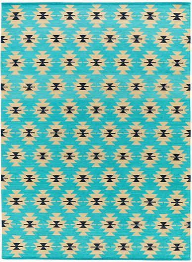 blue-green kilim rug
