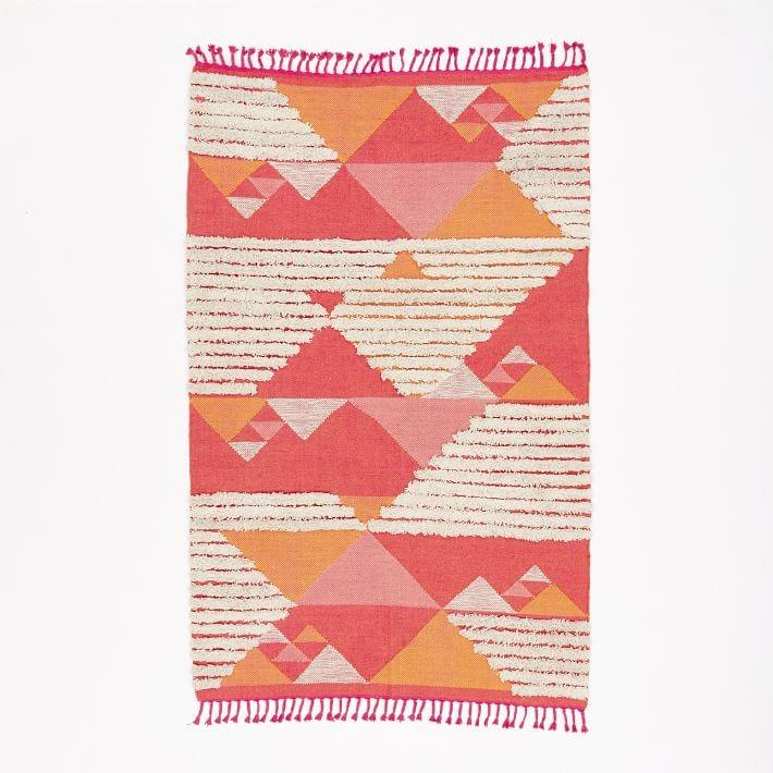 pink orange ivory kilim rug