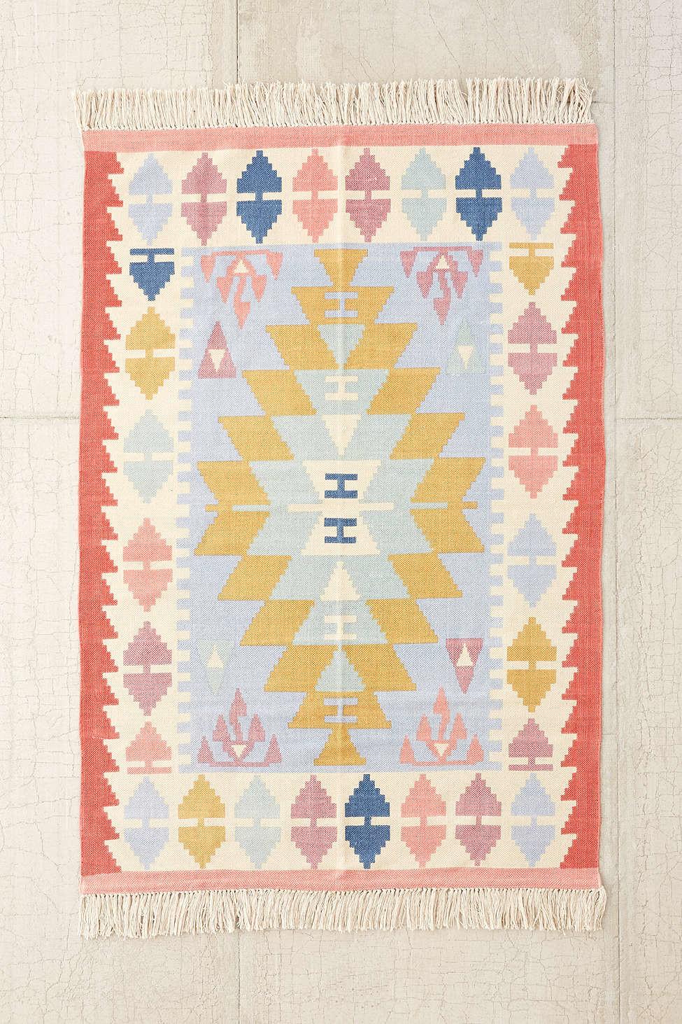 Coral blue yellow kilim rug