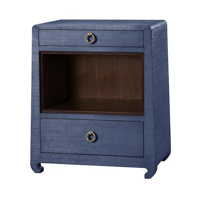 Navy blue side table with two drawers