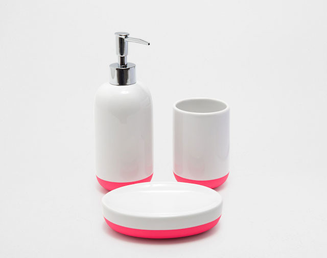 white and fuschia bathroom accessories