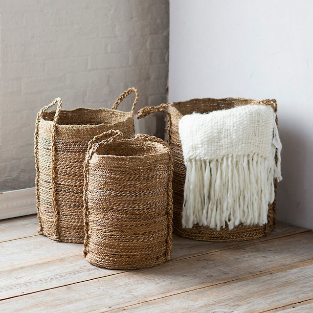 woven banana tree bark and burlap baskets