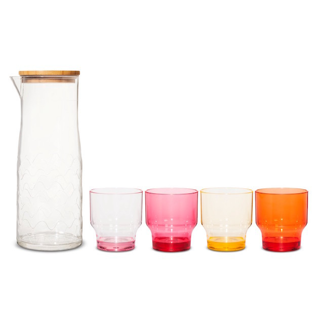 Carafe and four multicolored glasses