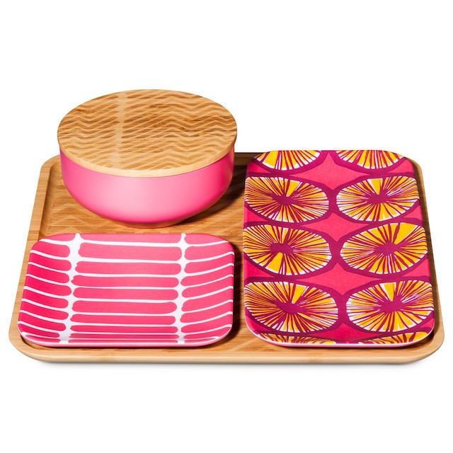 pink and yellow bamboo serving set