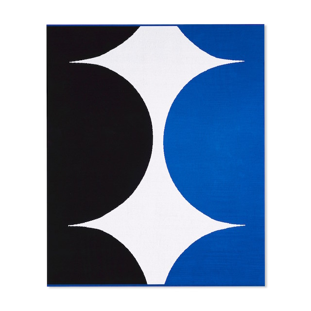 black blue and white rectangular outdoor rug