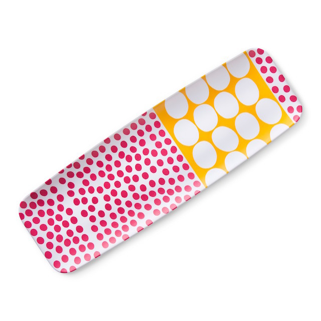 Rectangular serving tray with pink, yellow and white printing