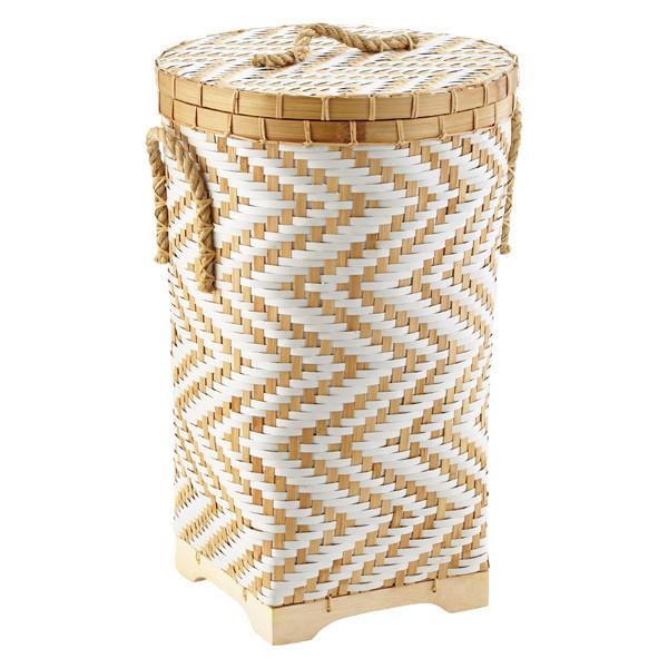 Chevron woven bamboo basket