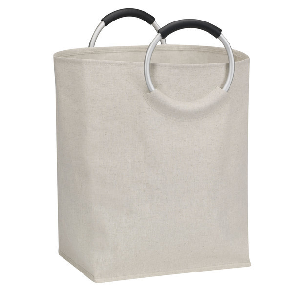 Canvas basket with round metal handles