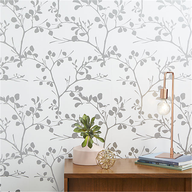 Wallpaper with botanical print in silver and white
