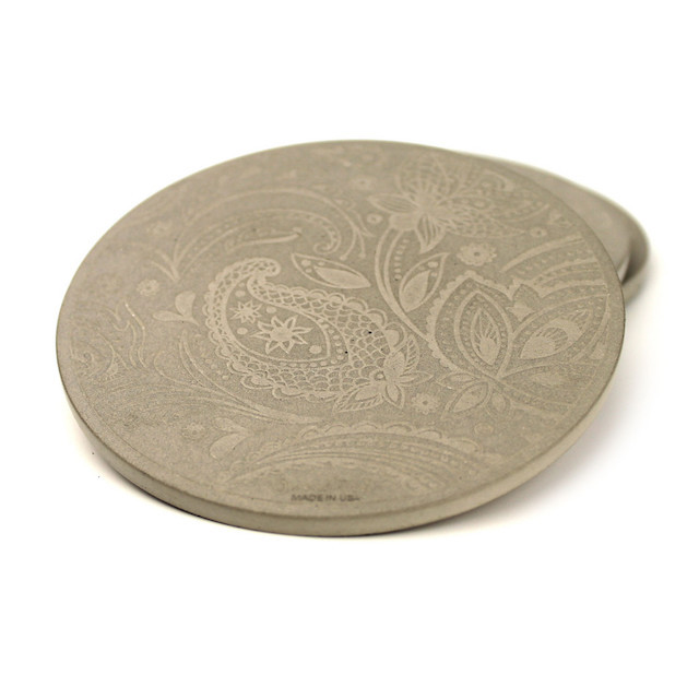 Concrete coaster with paisley print