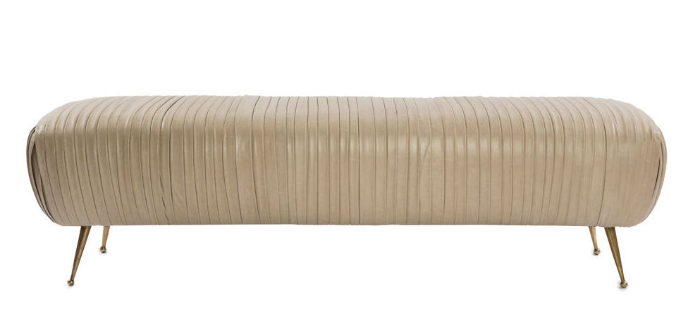 ruched leather bench
