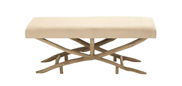 upholstered bench with wooden legs
