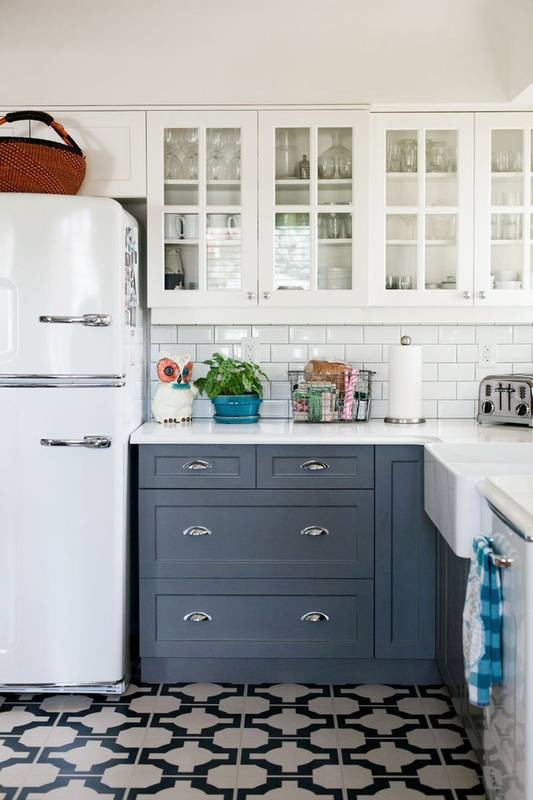 Country kitchen with black and white floor
