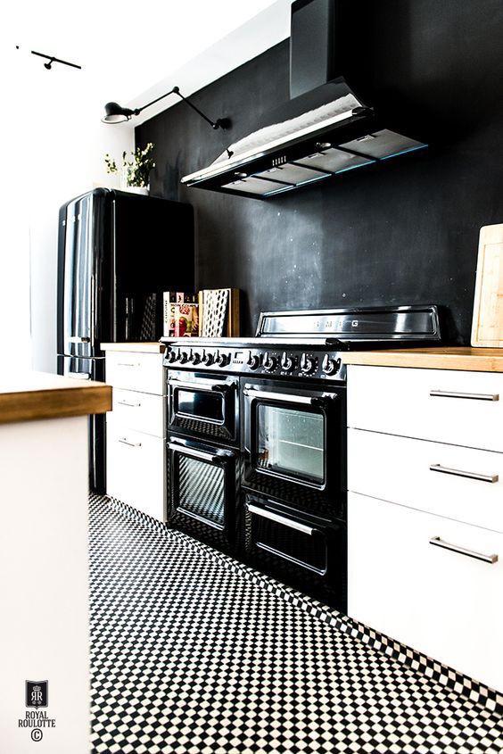 Black and white mini checkerboard floor tiles