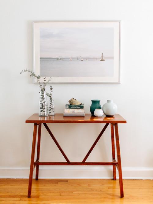 minimal wooden entrance table