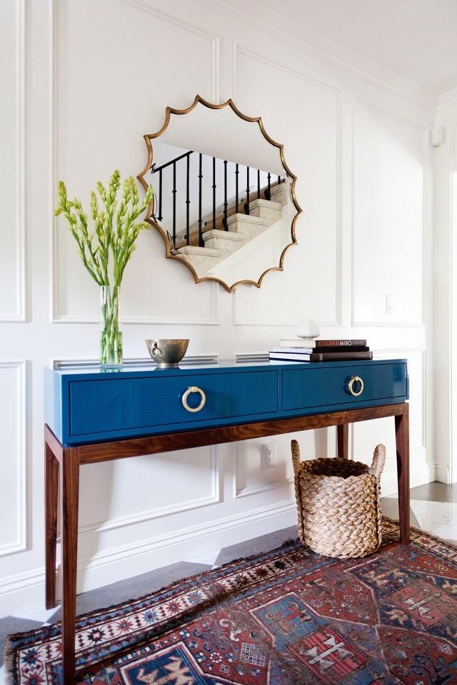 blue wooden entrance table