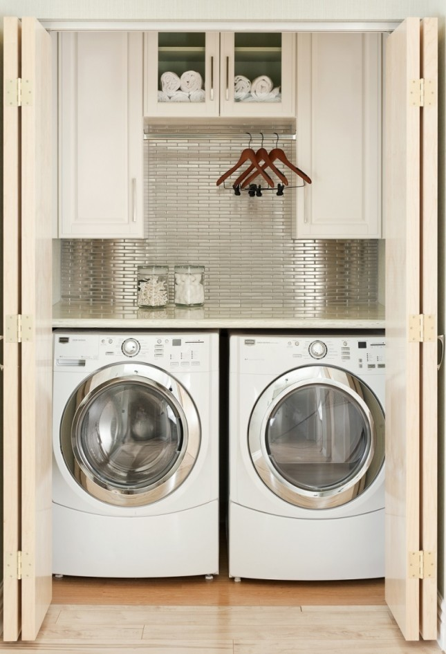 Metallic backsplash small laundry room