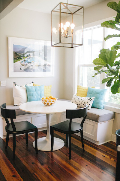 turquoise yellow white breakfast nook