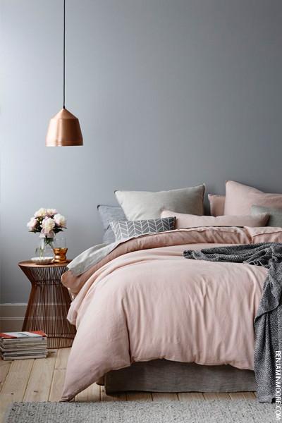 pink bedding gray bedroom
