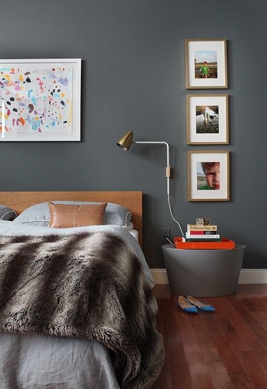 Fur throw dark gray bedroom