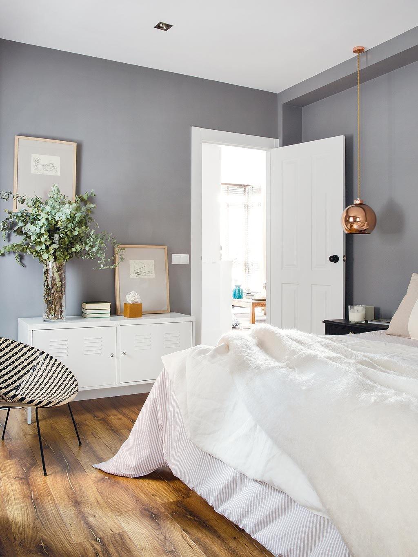 white bedding gray bedroom