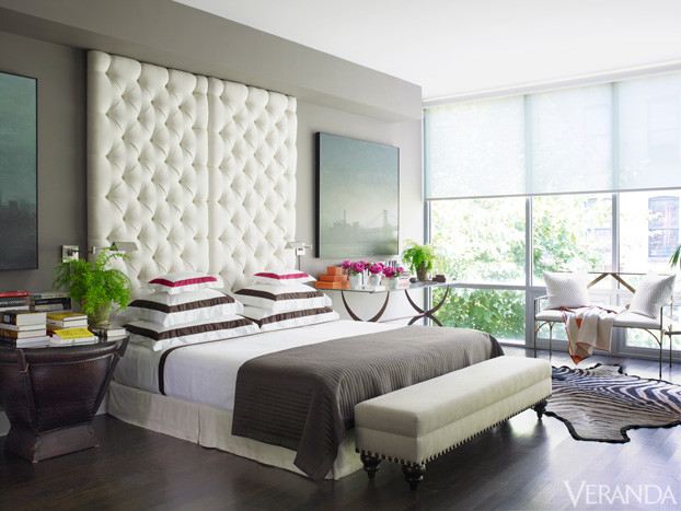 tufted headboard gray bedroom