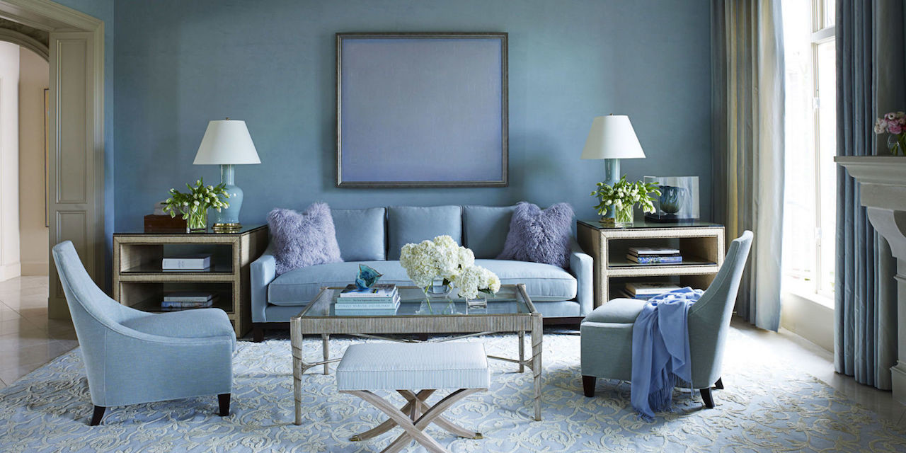 Venetian plaster walls blue living room