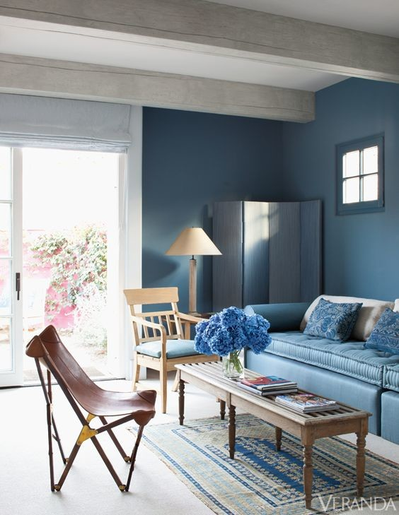 deep blue day bed walls room