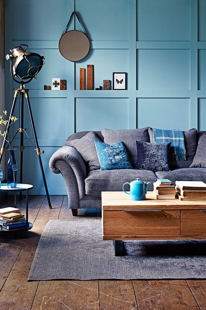 blue paneled wall sofa