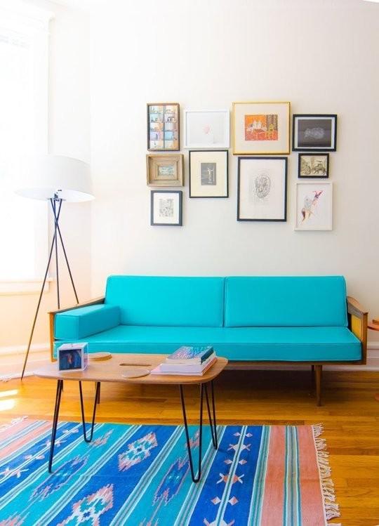 turquoise midcentury sofa