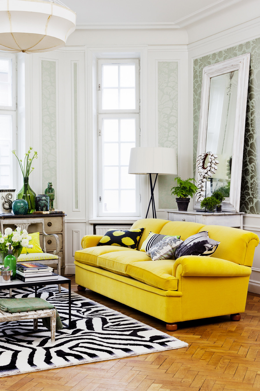 crowded yellow sofa