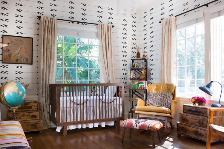 Wooden window nursery large window