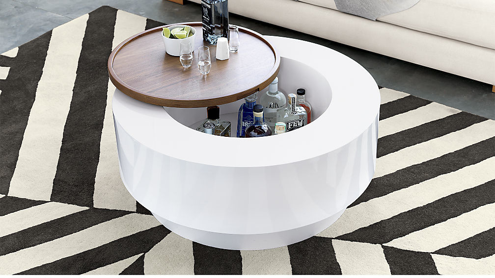 white coffee table with storage space