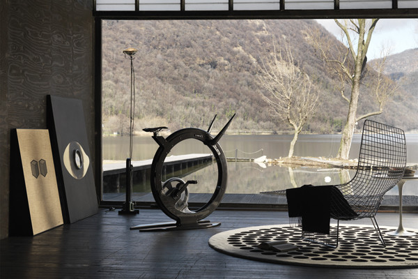 minimalist home gym design floor to ceiling windows