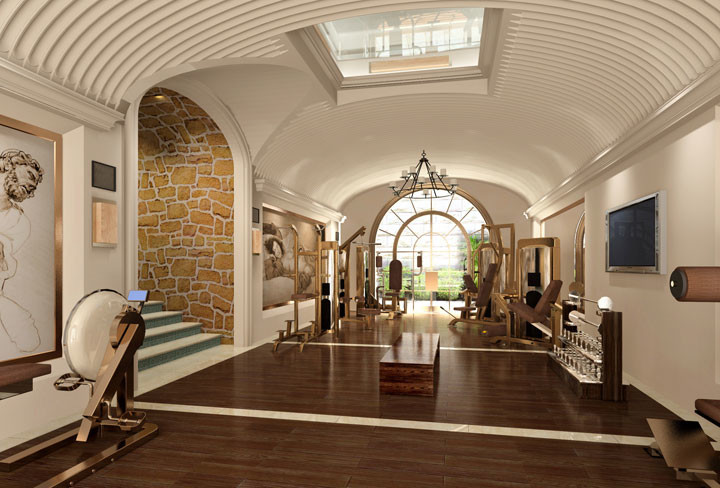Home gym design with arched window