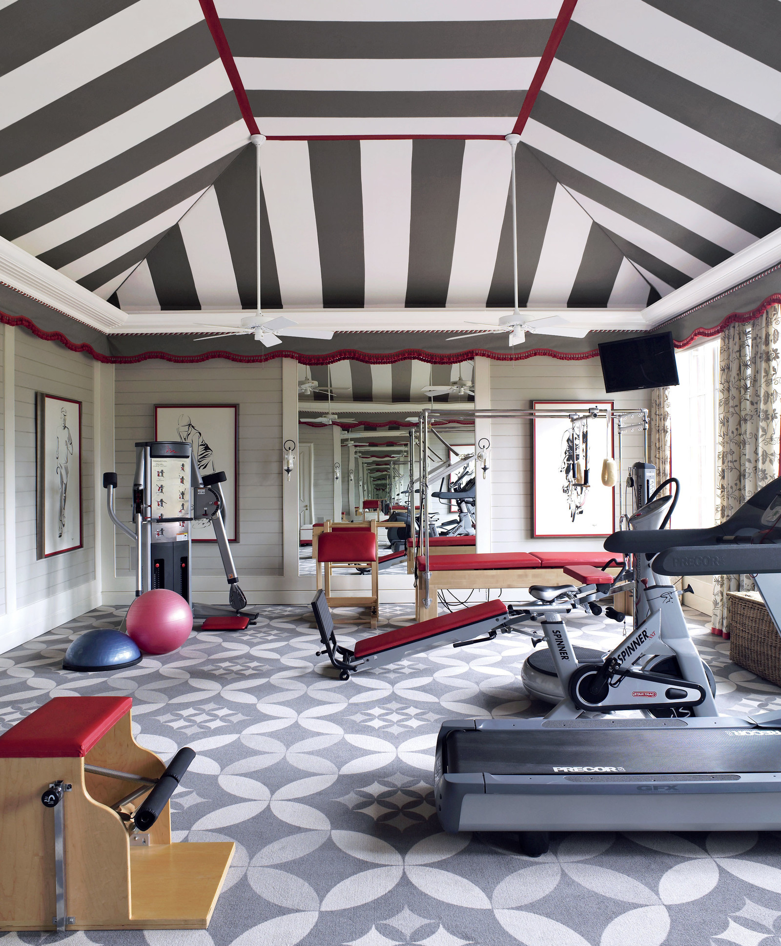 striped tent cover home gym