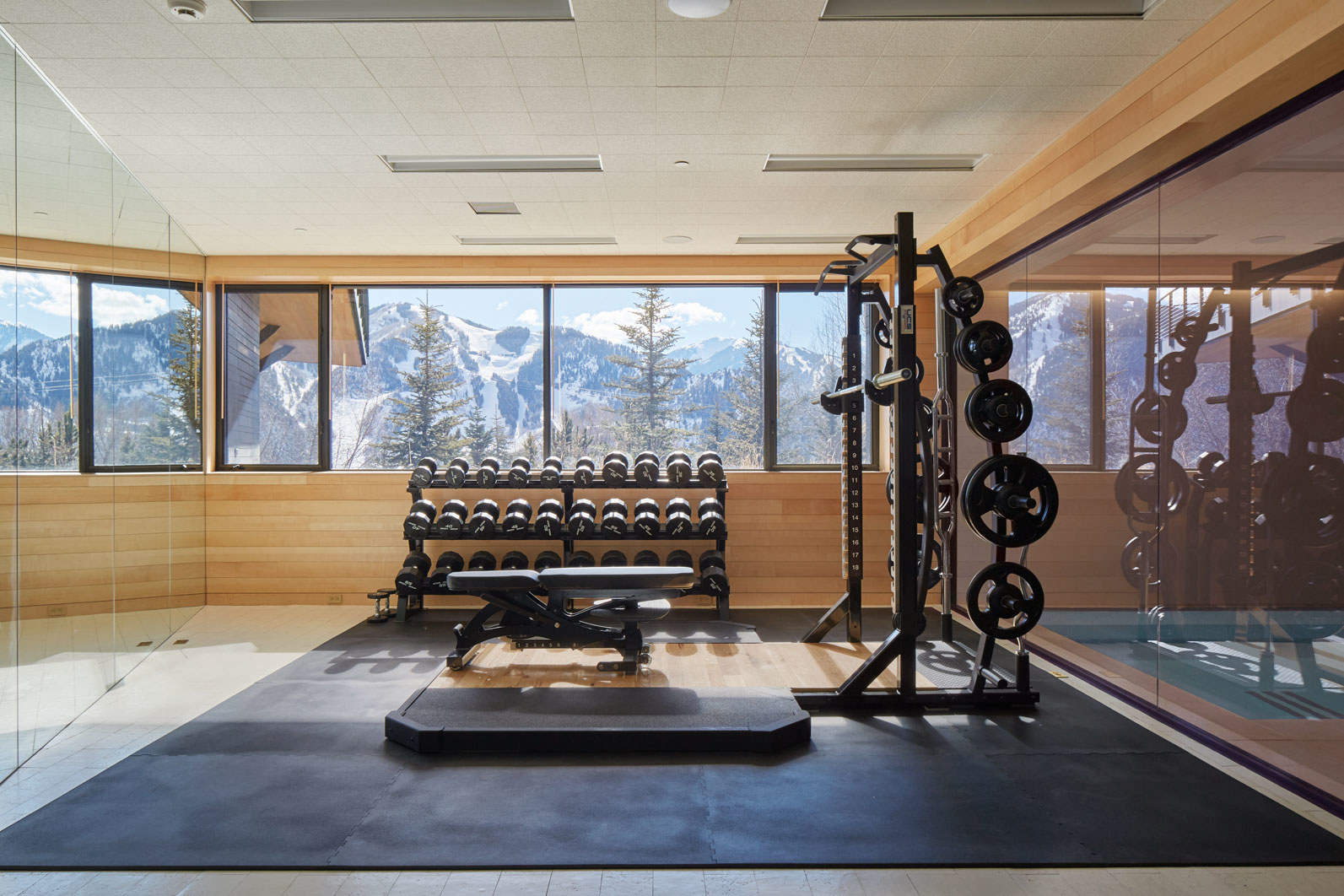 elegant gym with a view of the mountains