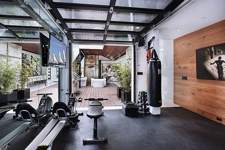 Garage door home gym design