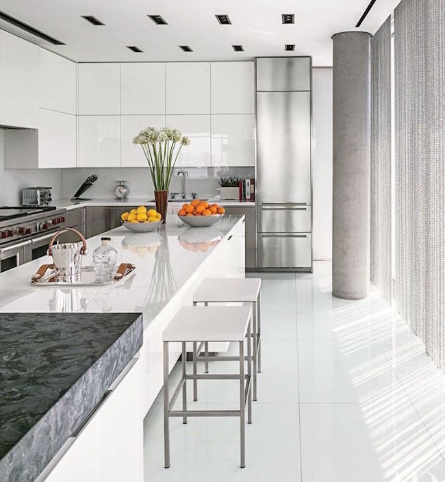 Lacquer cabinets modern white kitchen