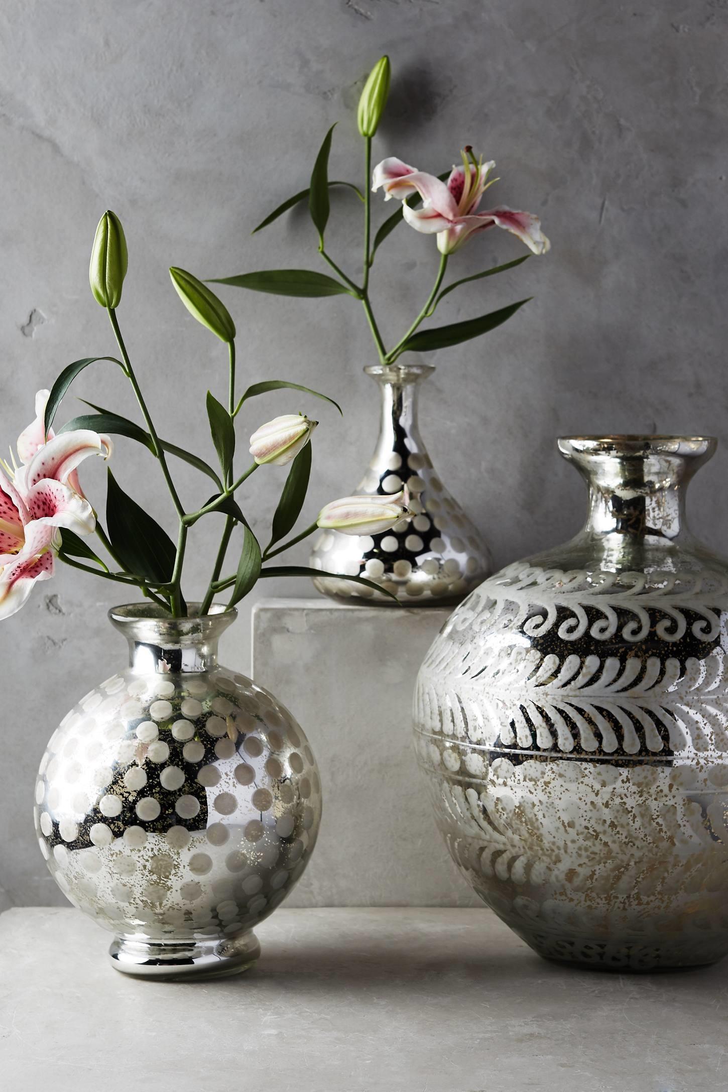 etched mercury vases